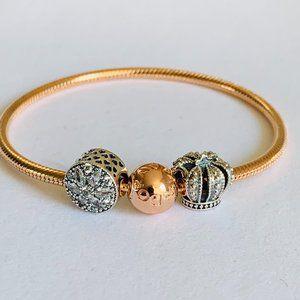 Pandora Rose Gold Bracelet & Radiant & Royal Charm